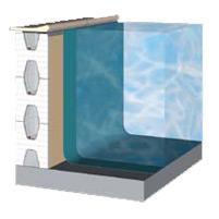 Sezione piscina a pannelli di polistirolo