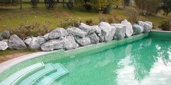 Piscina interrata in cemento armato con scale, pietre e vegetazione decorative, in giardino