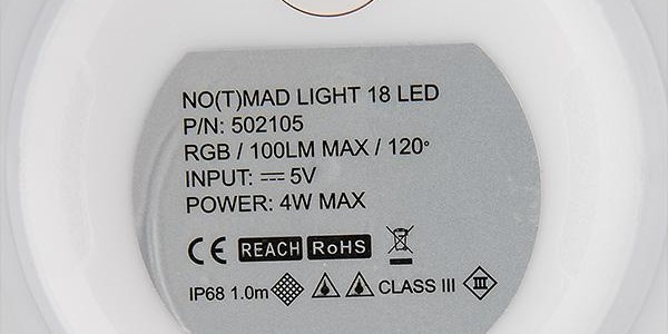 No(t)mad faro LED magnetico a batteria al litio, ricaricabile con USB, bianco o multicolore